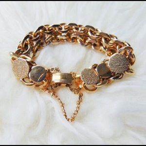 Couture Flat Circle Textured Chain link bracelet